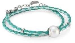 Majorica Amazona Braided Double-Wrap Imitation Pearl& Leather Bracelet