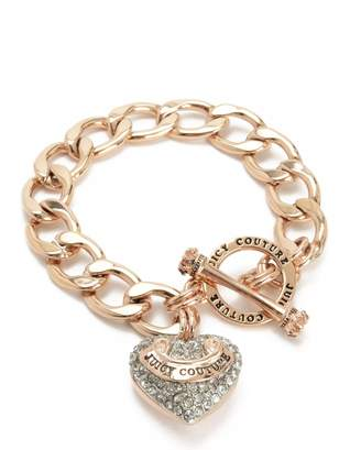 Juicy Couture Pave Heart Banner Logo Starter Bracelet