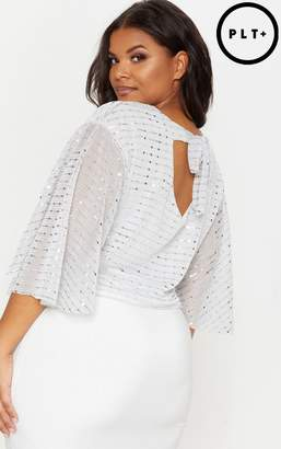 PrettyLittleThing Plus Silver Sequin Batwing Floaty Top