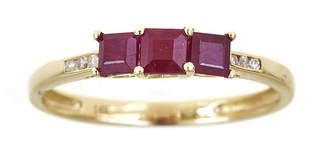 FINE JEWELRY LIMITED QUANTITIES Lead Glass-Filled Ruby and Diamond-Accent Band