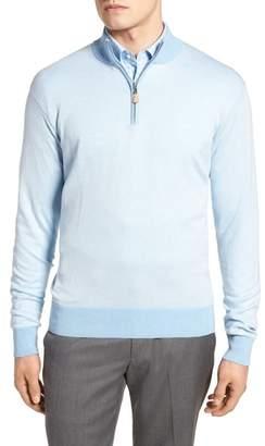 Peter Millar Crown Bird's Eye Cotton & Silk Quarter Zip Sweater