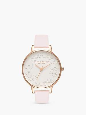 Olivia Burton OB16AR01 Women's Artisan Dial Leather Strap Watch, Blossom/White