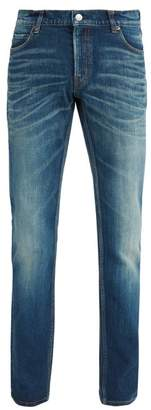 Balenciaga Slim Fit Faded Wash Jeans - Mens - Blue