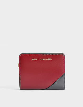 Marc Jacobs Saffiano Mini Compact Wallet in Deep Maroon Split Cow Leather