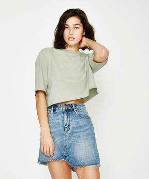 GP Tees Cropped Oversized Short Sleeve T-shirt Avocado