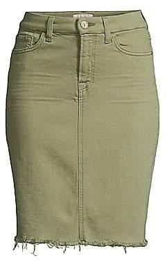 7 For All Mankind Jen7 by Women's Fringed Hem Denim Pencil Skirt