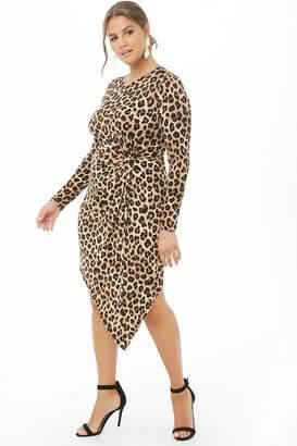 Forever 21 Plus Size Asymmetrical Leopard Print Twist-Waist Dress