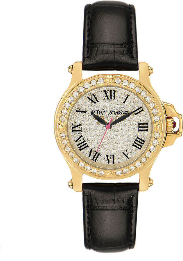 Betsey Johnson Watch, Women's Black Croc Embossed Leather Strap BJ00031-05