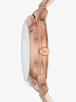 Michael Kors Runway Rose Gold-Tone and Leather Interchangeable Watch Set