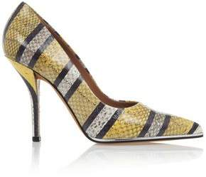 Givenchy Striped Print Pumps In Yellow Grey And Black Watersnake