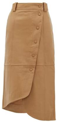 Ganni Asymmetric Panelled Leather Skirt - Womens - Camel