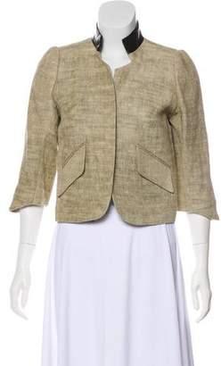 Smythe Linen Leather-Trimmed Blazer
