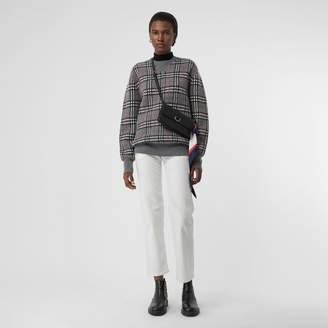 Burberry Check Cashmere Jacquard Sweater, Grey