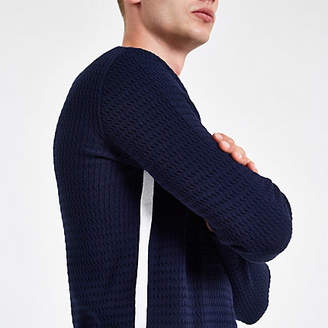 River Island Navy cable knit muscle fit sweater