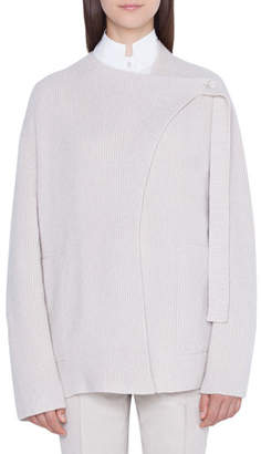 Akris Cashmere Asymmetric Button-Tab Cardigan