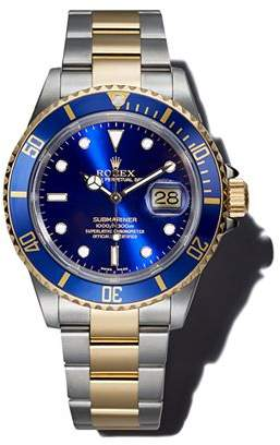 Moncler Pre-Owned Rolex Stainless Steel and 18K Yellow Gold Two Tone Submariner Watch with Blue Dial, 40mm