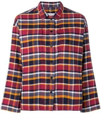 YMC boxy check print shirt