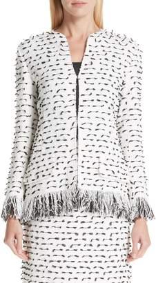 Oscar de la Renta Fil Coupe Tweed Jacket