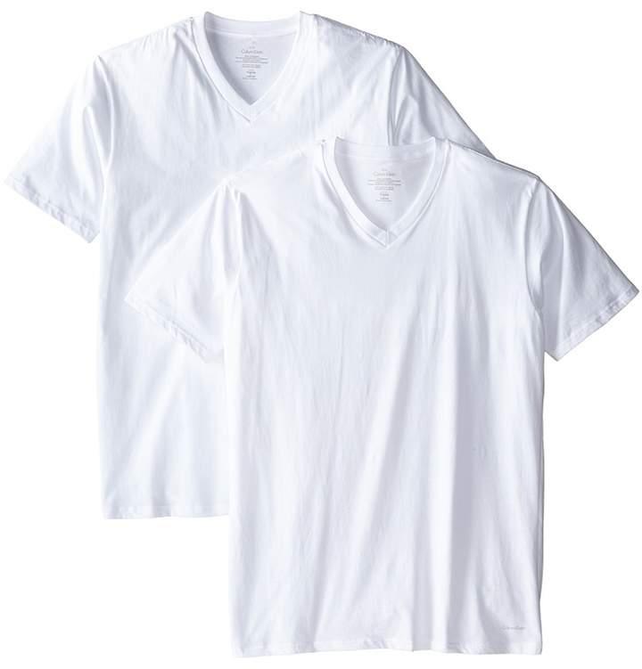 Calvin Klein Underwear Big Tall Cotton Classic 2-Pack Tall Short Sleeve V-Neck Men's Underwear
