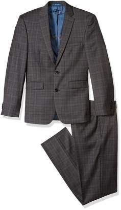 Vince Camuto Men's Slim Fit Grey/Rust Windowpane 2 Piece Suit