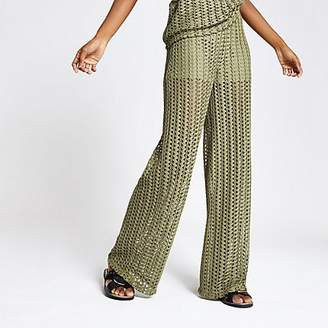 River Island Khaki crochet wide leg trousers