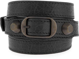 Balenciaga Classic Leather Wrap Bracelet