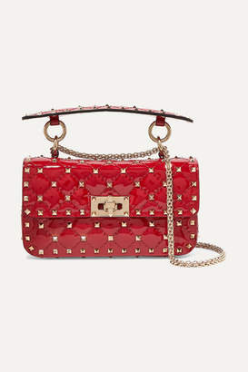 a2084882b Valentino Garavani The Rockstud Spike Small Quilted Patent-leather Shoulder  Bag - Red