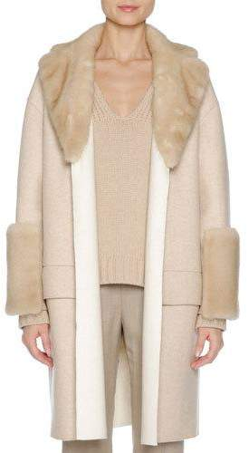 Agnona Agnona Relaxed Cashmere Coat with Mink Fur Trim, Brown/White
