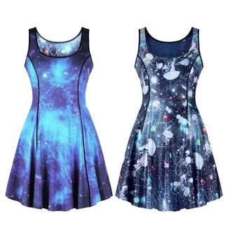 cdc6a13093d Lyck Women s U Neck Sundress Sleeveless A Line Midi Flared Tank Dress for  Teen Girls Blue