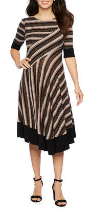 Rabbit Rabbit Rabbit DESIGN Design Short Sleeve Stripe Fit & Flare Dress