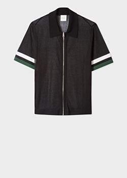 Paul Smith Women's Black Short-Sleeve Sheer Silk-Blend Zip Polo