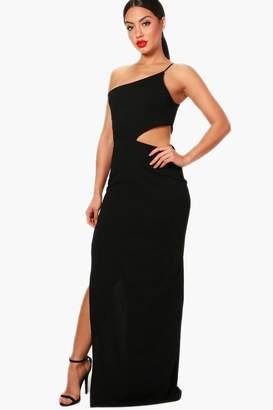 boohoo One Shoulder Cut Out Detail Split Maxi Dress