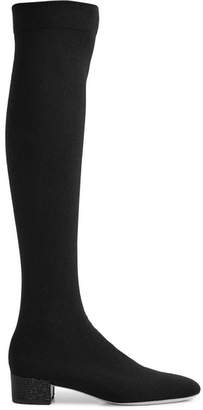 Rene Caovilla Crystal-embellished Cotton Over-the-knee Boots - Black