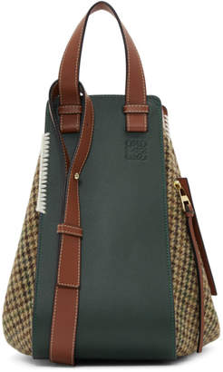 Loewe Green and Tan Tweed Hammock Medium Bag