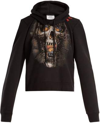 Vetements Misplaced-shoulder skull-print sweatshirt