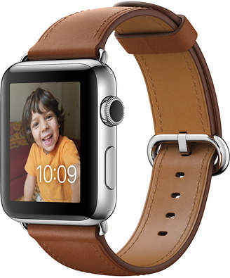 Apple Watch Series 2 42mm Stainless Steel Case with Saddle Brown Classic Buckle $699 thestylecure.com