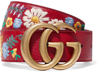 Gucci Embroidered Textured-leather Belt