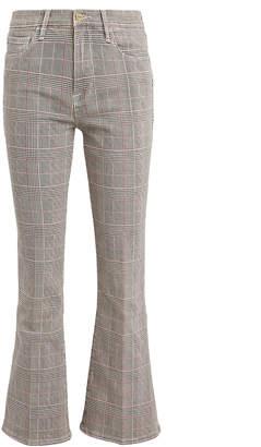 Frame Le Cropped Mini Boot Plaid Jeans