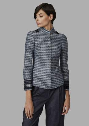 Giorgio Armani Checked Fabric Jacket With Braided Trim