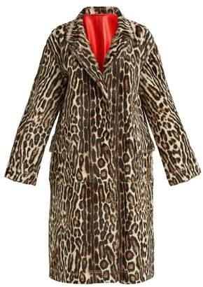 Calvin Klein Leopard Print Leather Duster Coat - Womens - Leopard