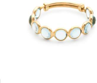 Tresor Collection Blue Topaz Round Stackable Ring With Adjustable Shank In 18K Yellow Gold