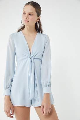 Urban Outfitters Chiffon Tie-Front Long Sleeve Romper