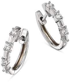 Bloomingdale's Diamond Baguette & Round Huggie Hoop Earrings in 14K White Gold, 0.50 ct. t.w. - 100% Exclusive
