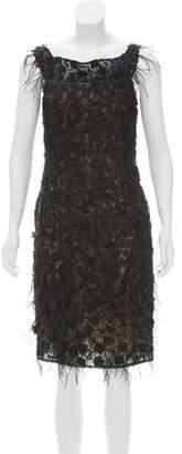 Oscar de la Renta Ostrich Feather-Accented Sleeveless Dress w/ Tags