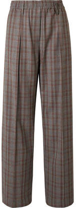 Brunello Cucinelli Checked Wool-crepe Wide-leg Pants - Gray