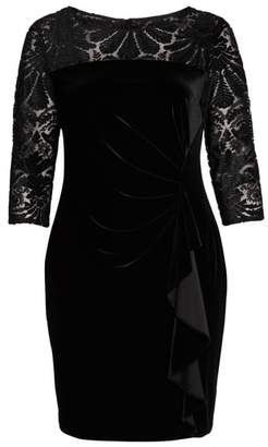 Alex Evenings Velvet Embroidered Sheath Dress