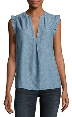 Joie Blaine Sleeveless Chambray Top, Blue $168 thestylecure.com