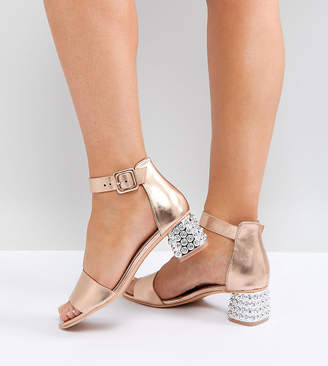 Lost Ink Wide Fit Rust Metallic Jewelled Mid Heeled Sandals