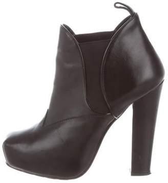 Proenza Schouler Leather Platform Booties Black Leather Platform Booties