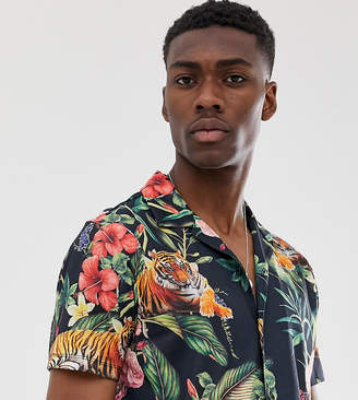 Menswear Big & Tall jersey shirt in floral tiger print